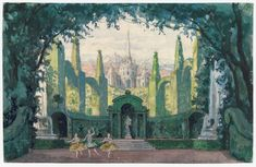 Set design by Alexandre Benois for the ballet Pavillon d'Armide, garden for act II, 1909. Music by Nikolai Tcherepnin on a libretto by Alexandre Benois.