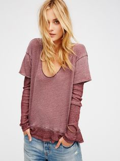 Magic Tee   Super soft tee with a relaxed scoop neck features attached ribbed sleeves and hemline for an effortlessly layered look.
