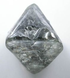 Diamond (26.52 carat gray octahedral crystal) from Russia. 18x14x14 mm.