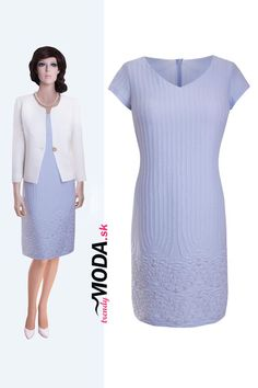 ef9a97ab2b30 Elegantné dámske modré letné šaty a slonovinovo biele sako - trendymoda.