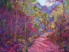 Grand Canyon-inspired oil painting by expressionist landscape painter Erin Hanson.