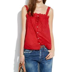 Madewell eyelet field lace cami Red button up cami Madewell Tops Camisoles