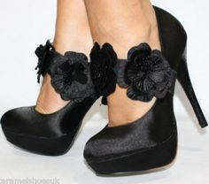 black satin heels... too high for me but LOVE them anyway.