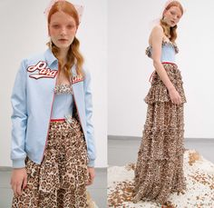 Nicola Brognano 2017 Spring Summer Womens Lookbook Presentation - Divine Paradise French Romanticism Streetwear Ruffles Bodice Sporty Flowers Floral Print Motif Veil Fishnet Stilettos Tuxedo Stripe Football Soccer Socks Covered Shoes Leopard Track Jacket Jacket Skirt Frock Sheer Chiffon Tulle Strapless Sunglasses Colored Sunglasses Balloon Sleeves Check Miniskirt Embroidery Maxi Dress Knot Ribbon Bow One Off Shoulder