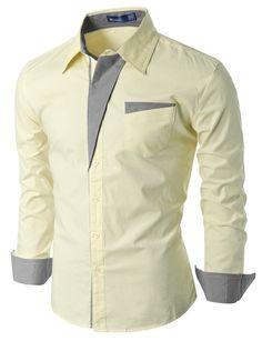 Mens Patch Point Slim Dress Shirts #doublju