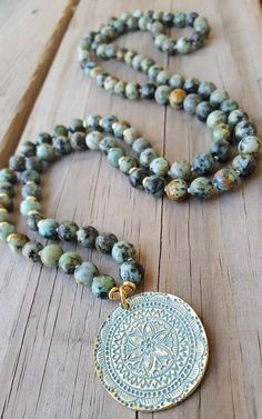 Mandala Mala Necklace 108 African Turquoise Mala Beads Mandala