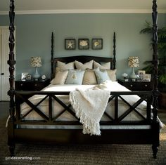 Bedrooms, Master Love Love Love this bedroom--the bed, bedding, wall color, bedding colors...