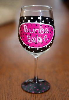 Bunco Babe  painted wine glass. $15.00, via Etsy.