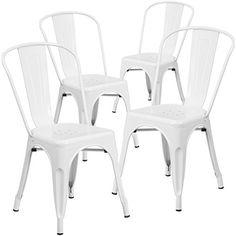 Flash Furniture Metal Indoor/Outdoor Chair (4 Pack), Whit...