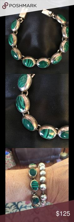 Taxco Green Gemstone Sterling Silver Bracelet I don't know what the stones are called they are beautiful colors of green. Marked as pictured from what I read the time period is 1979 with these markings. Measures about 7 inches. No lowball offers will be accepted. Jewelry Bracelets