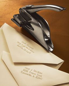 Address Embosser at Neiman Marcus. Great for Wedding Invitations. Wedding Stationary, Wedding Invitations, Invitation Envelopes, Invitation Ideas, Invitation Design, Cool Office Gadgets, Unique Gadgets, Cards Ideas, Our Wedding