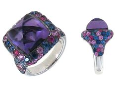 Roberto Coin 18k white gold sugarloaf amethyst ring from the 'Unique' collection w/ pink & blue sapphire accent stones.