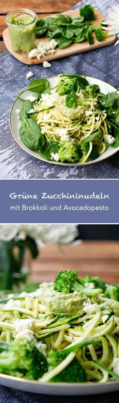 Zucchininudeln mit Brokkoli, Babyspinat und Avocadopesto