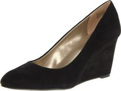 $41, Black Suede Wedge Pumps: Bandolino Transpose Wedge Pump. Sold by Amazon.com. Click for more info: https://lookastic.com/women/shop_items/106238/redirect