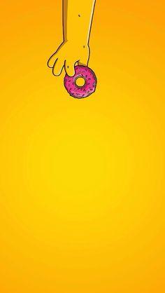 Simple Donut Homer Simpsons iPhone Wallpaper Home Screen