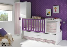 cunas convertibles en cama - Google Search Bebe Baby, Baby Love, Baby Deco, Baby Room Decor, Baby Cribs, Girl Nursery, Kids And Parenting, Toddler Bed, Kids Room