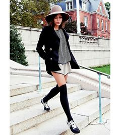 Christina Caradona of Trop Rouge blog: Patricia Underwood hat; Choices jacket; Otte top; Cameo shorts; American Apparel socks; Nike sneakers.  I say yes, without the hat and coat.  It's very '70s-esque, and therefore I find it appealing.  Just for fun, why not?