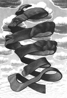 Escher for ceiling mural...can be done as any person, colors, ribbon textures, etc.