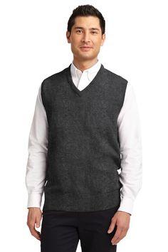 Port Authority Value V-Neck Sweater Vest SW301 Charcoal Grey