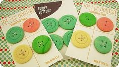 """edible buttons for """"cute as a button"""" baby shower """"Wow~~looks just like a button package--too cute!!"""" S.C."""