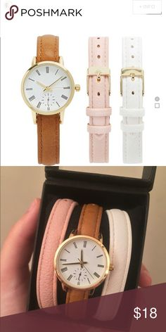 FINAL price drop Faux Leather Analog Watch Set ❗️NEW in box ❗️ This set features a single-functioning dial watch with an analog face on a faux leather band and includes additional interchangeable faux leather bands. Forever 21 Accessories Watches