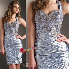 Short, sassy, silver formal dress