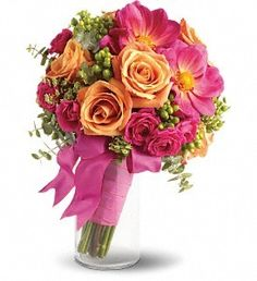 Wedding bouquet- bright pink and soft orange roses floral mix- Bridesmaid bouquet.- round bouquet style