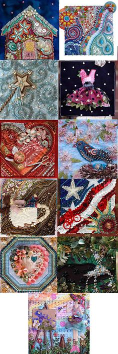 amazing beading and stitching, she did one per month as a way of journaling.