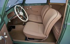 Time (in the) Machine: 1952 Volkswagen Beetle - Motor Trend Classic - MotorTrend Volkswagen Beetle Interior, Volkswagen Bus, Vw Camper, Mini Morris, Vw Super Beetle, Hot Vw, Custom Car Interior, Car Upholstery, Classic Sports Cars