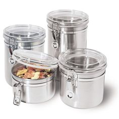 4 Stainless Steel Kitchen Canisters Dry Food Storage Jars Air Tight
