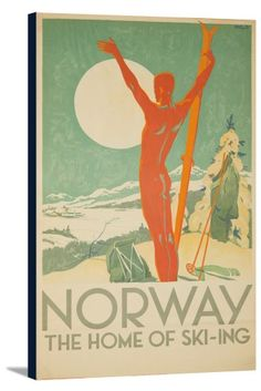 Norway - The Home of Ski - ing (artist: Davidsen) Norway c. 1937 - Vintage Poster (14.75x24 Gallery Wrapped Stretched Canvas), Multi