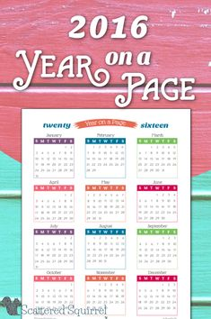 2016 Year on a Page Calendar Printables-I've been working hard on the 2016 Calendars, and I thought it would be fun to give you a little taste of what's coming up.