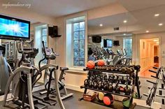 Home GYM Room Ideas, Home Gym Decorating, Modern Home GYM Interior Design Ideas Photos here.See Modern Home GYM Interior Design Ideas here. Excellent ideas here, you will be amazed Workout Room Home, Gym Room At Home, Workout Rooms, Gym Interior, Home Interior Design, Basement Gym, Garage Gym, Home Gym Design, Pinterest Home
