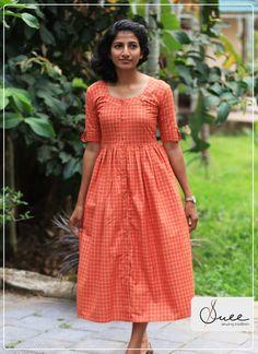 b65fa947 Handloom Check orange dress #suee #sewingtradition #dree #checkdress # handloom #kannur handloom #kaithari #cannloom #kerala #india #ethnic #trend  #fashion ...