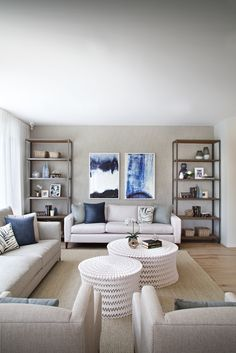 Clarendon Homes. Bayside 39. Light coastal blues combined with natural base colours created this serene family room.