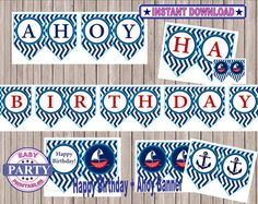 SALE Ahoy Birthday Boy Banner Instant by EasyPartyPrintables,
