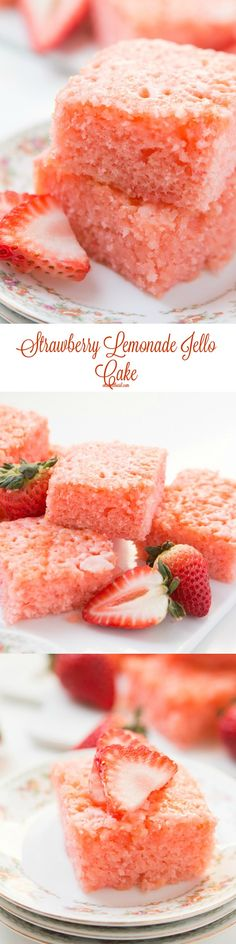 Our family favorite strawberry lemonade jello cake ohsweetbasil.com