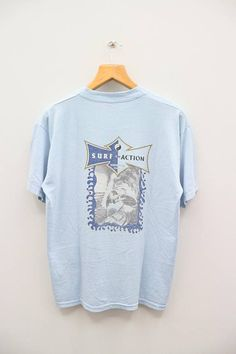Vintage T&C Town And Country Surf Design Surf In Action North Shore Hawaii Blue Tee T Shirt Size L