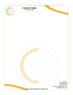 Printable letterhead with orange circles reminiscent of drafting, surveying, or engineering. Free to download and print