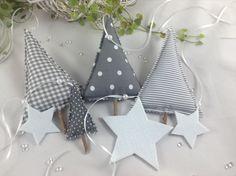 Weihnachtsdeko - 7 tlg. Weihnachtsdeko-Set in grau/weiß - ein Designerstück von Steinhoff-Design bei DaWanda