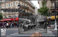 Les premiers combats de l'insurrection débutent. Parisiens et parisiennes de tous âges dressent des barricades avec les moyens du bord. À côté de la fontaine Saint-Michel, des jeunes d'une vingtaine d'années soulèvent le bitume devant l'objectif de Robert Doisneau encore méconnu. Certains diront plus tard que l'effervescence était telle que personne ne dormait., 19 Août 1944 - Golem13