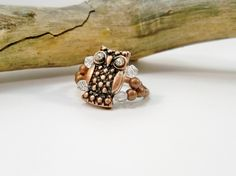 Rhinestone Owl Cocktail Ring, Crystal Ring, Stretch Ring, Copper Ring, Gift for Her, Crystal Owl Ring by babbleon on Etsy