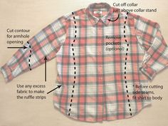 How to turn a really really large very wide plaid mens shirt into a fitted awesome little get up shirt