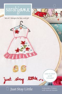 Embroidery Pattern PDF Just Stay Little by sarahjanestudios, $6.00