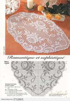 This Pin was discovered by sem Free Crochet Doily Patterns, Filet Crochet Charts, Crochet Designs, Crochet Doilies, Diy Crafts Crochet, Crochet Home, Crochet Books, Thread Crochet, Fillet Crochet