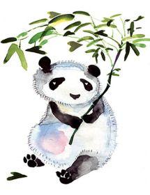 Heart bamboo panda Masha D'yans watercolor greeting card.