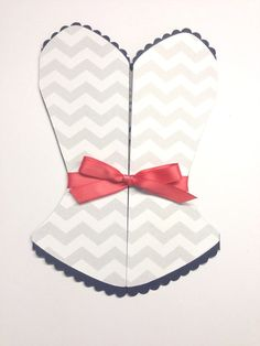 Chevron Bridal Shower Bachelorette Invitation with Navy and Coral Ribbon Corset on Etsy, $28.00