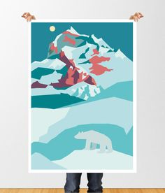 Geometric Arctic Polar Bear Mountain Landscape Print , Printable Wall Art, North Pole, Snow, Instant Download, Muted Blues, Snowy Mountains by tothewoodside on Etsy