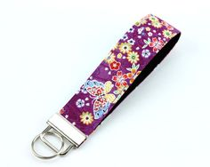 """Butterfly Cherry Blossoms 1"""" Key Fob, Key Chain, Gift For Her, Wristlet Keychain, Purple"""