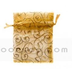 3.5 x 4.75 10 pieces Natural beige and brown Linen Gift Bags Brown Leaf Print Favor Bags
